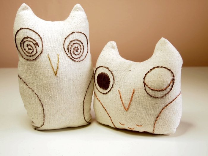 How to Sew Owl Softies and Embroider their Faces