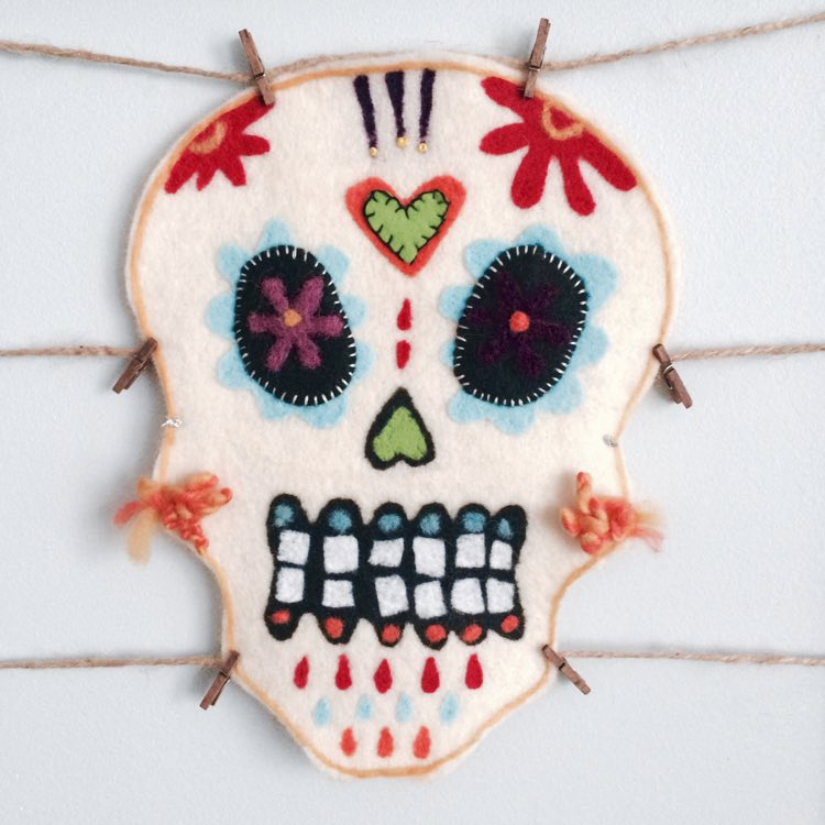 Felting a sugar skull mask inspired by the Day of the Dead.