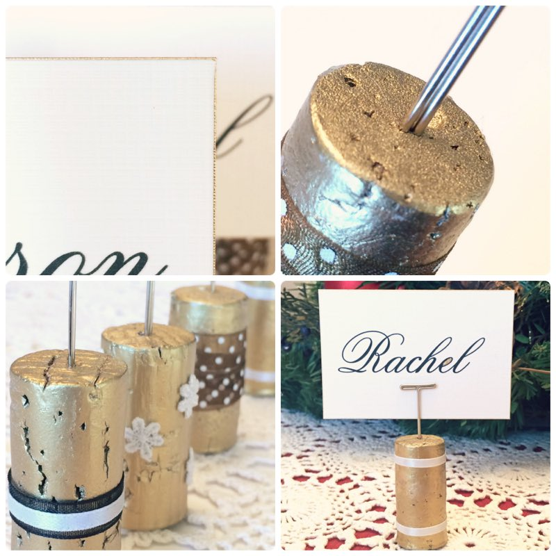 how to make gold place card holders our of pins cork and paint