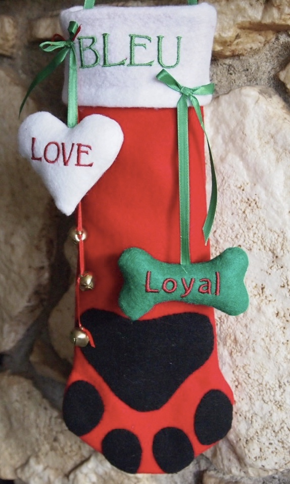 Dog Paw Print Stocking for Christmas